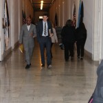 After a couple of successful morning meetings, Smith and Bucheger strategize in the halls of Cannon House Building.