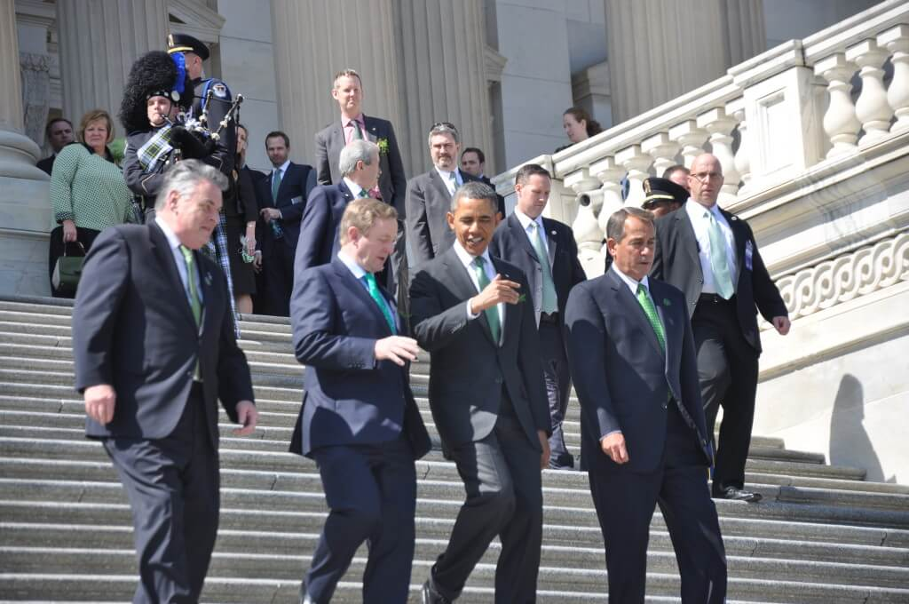 President Obama, Prime Minister Kenny, House Speaker Boehner and Rep. King descend the South Capitol steps after the Friends of Ireland Luncheon. Catherine Reid/Medill